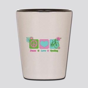 Peace Love and Cycling Shot Glass